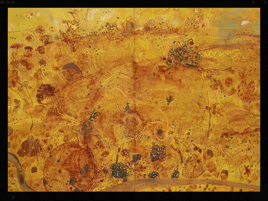 John Olsen born Australia 1928, lived in Europe 1956–60, 1965–67 Golden summer, Clarendon 1983 oil on canvas 183.0 x 244.0 cm Art Gallery of New South Wales, Sydney Purchased with the assistance of Salomon Brothers 1985 © John Olsen
