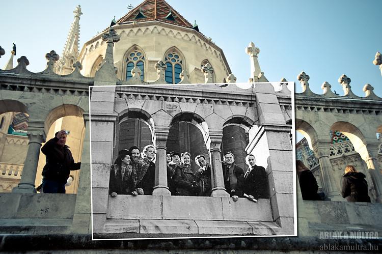 Budapest, I. Vár, Halászbástya, háttérben a Mátyás templom fortepan_18343