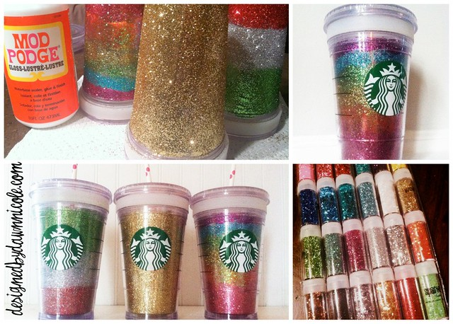 DIY Glittery Cups #modpodge