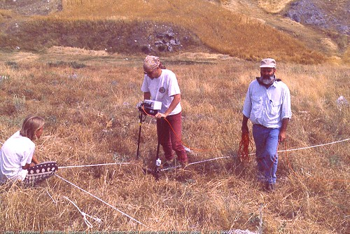 Gavurkalesi.  Mette-Marie, Rasmuss, & Stephen Lumsden taking resistivity data on the south slope.