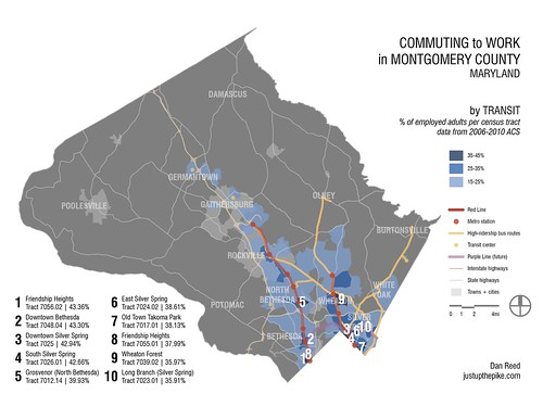 Commuting to Work in MoCo: Transit (with rankings)