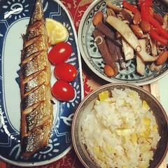 sanma shioyaki kuri gohan & kinpira #autumn #dinner #japan