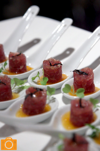The Fruit Garden Tuna Tartar with Nori Strips and Mango Ginger Jam in Ceramic Spoon