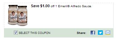 $1.00/1 Emeril Alfredo Sauce. Coupon