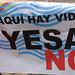 Pancarta contra el recrecimiento del pantano de Yesa