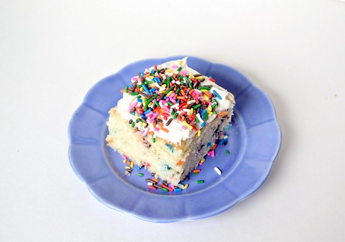 funfetti cake piled with sprinkles