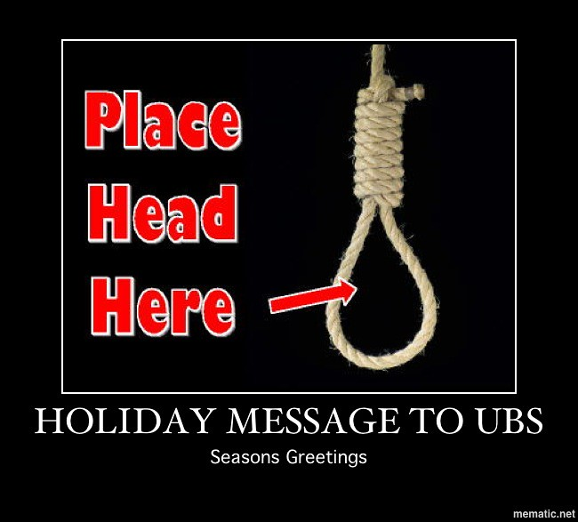 HOLIDAY MESSAGE TO UBS