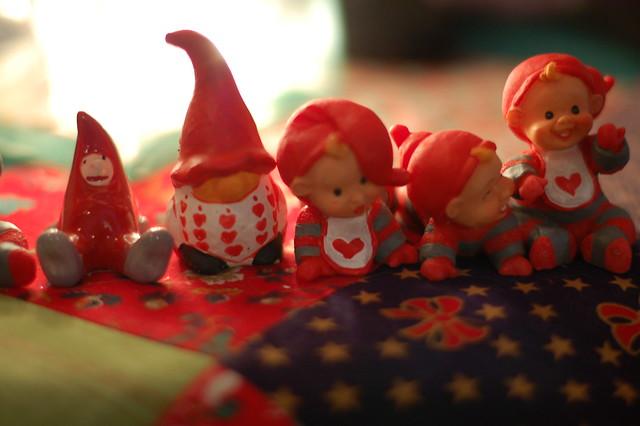 Row of Santas