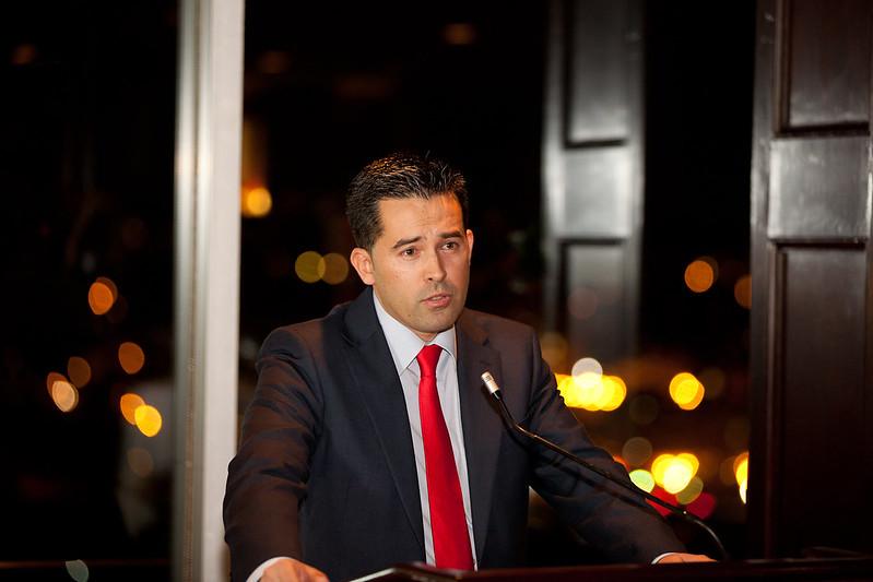 Juan Diego Sánchez dando su discurso de aceptación
