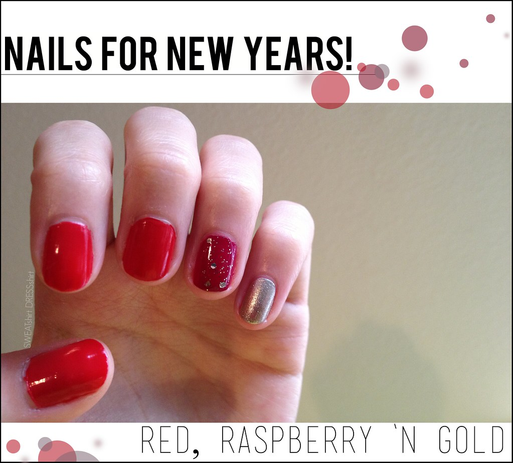 new years nails, celebration nails, red nail polish, ombre nails, nail tutorial, nail polish, gold glitter nail polish, berry colored nail polish, new nail ideas