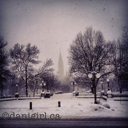 在暴风雪中的和平塔