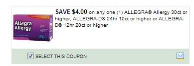 $4.00/1 Allegra Allergy 30ct Or  Higher, Allegra-d 24hr 10ct Or Higher Or Allegra-d 12hr 20ct Or Higher Coupon