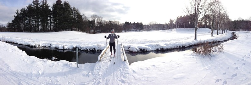 XCountry Skiing Over A Bridge - Pano