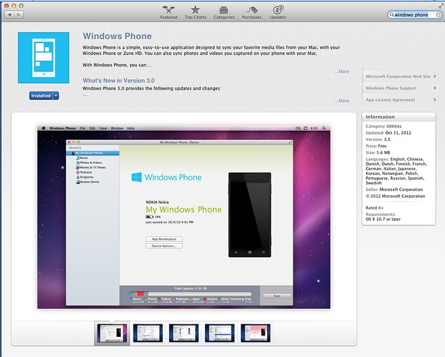 Windows Phone in Mac App Store