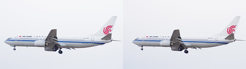 Boeing 737-800, China Airlines B-5170, stereo parallel view