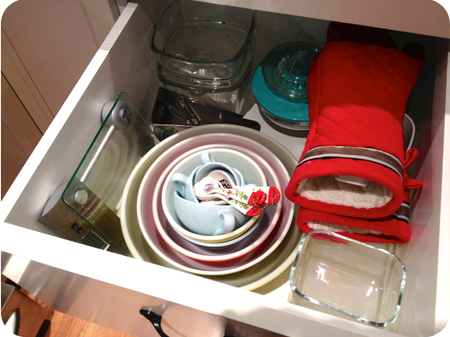 My drawer of pyrex bowls