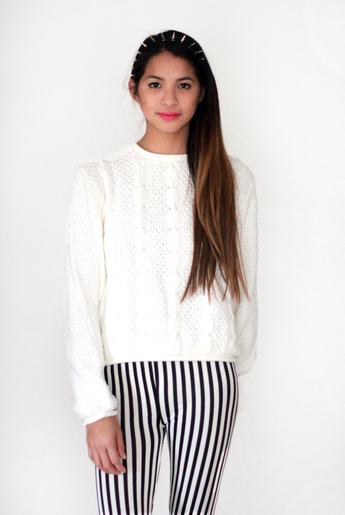 vintage white cableknit sweater by Tarte Vintage at shoptarte.com