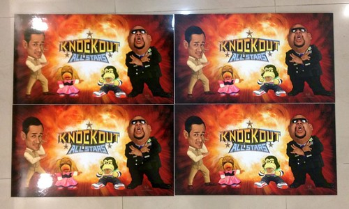 digital caricatures of Sheikh Haikel and Gurmit Singh for Okto Knockout 100th episode printout