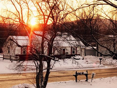 road new winter england house snow home sunrise ma massachusetts frosty easthampton