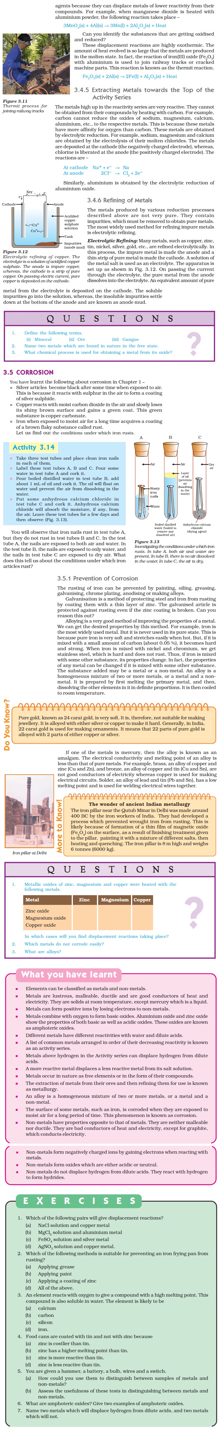 NCERT Class X Science Chapter 3 - Metals and Non-metals
