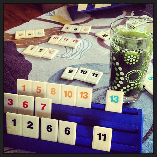 Detox Week Fun: Cucumber Lime Basil Juice and Rummikub.