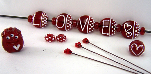 The latest batch of Valentine Lampwork Fun