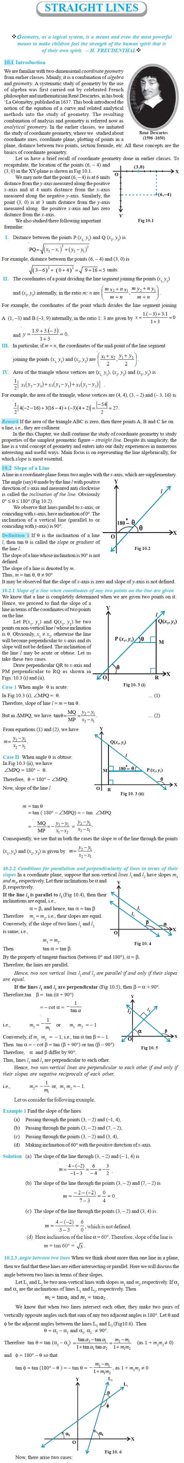 NCERT Class XI Mathematics Chapter 10 – Straight Lines