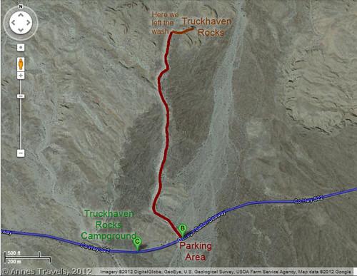Truckhaven Rocks Trail Map, Anza Borrego Desert State Park, California