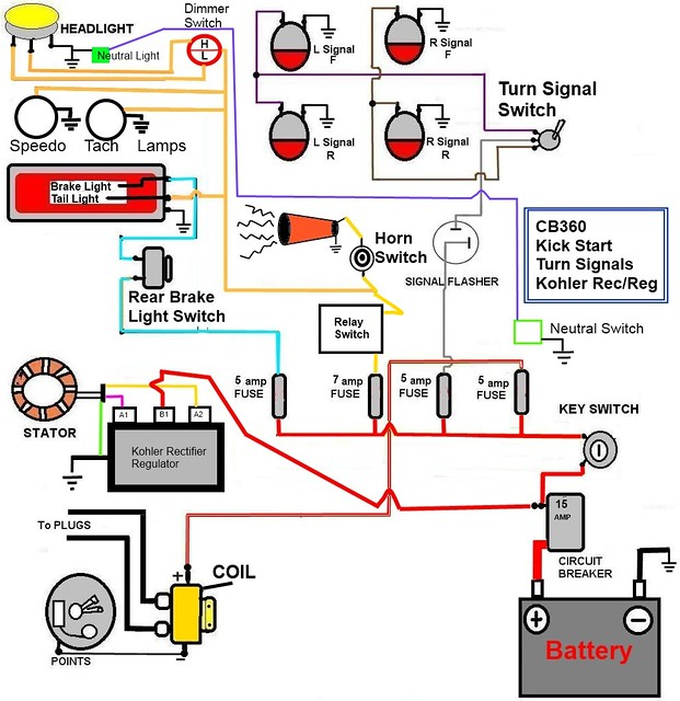57 bel air horn wiring diagram cb360 simplified wiring diagram w/kick start only, signals ...