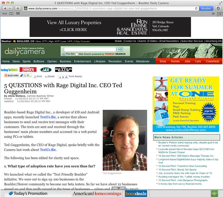 Press: 5 QUESTIONS with Rage Digital Inc. CEO Ted Guggenheim via Daily Camera