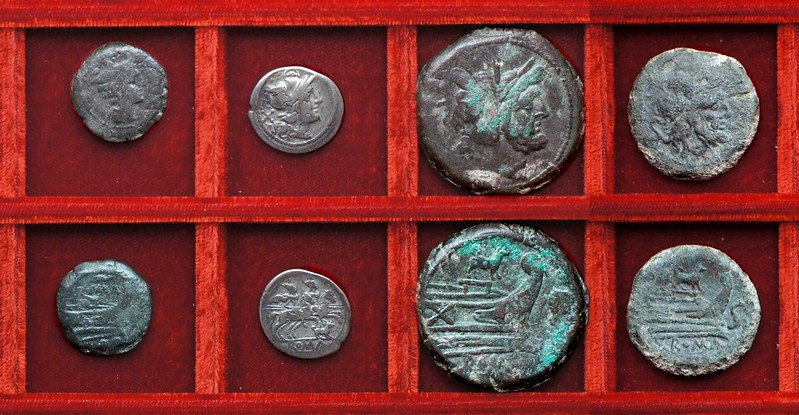 RRC 122 dog denarius and as, RRC 121 sow bronzes, Ahala collection, coins of the Roman Republic