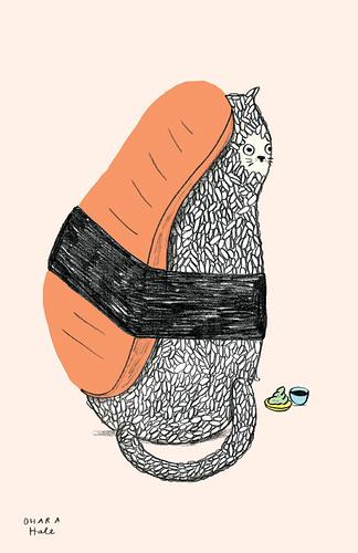 SUSHI CAT  by Ohara Hale by Ohara.Hale