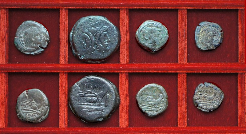 RRC 149 Ulysses Mamilia quadrans, RRC 150 M.TITINI Titinia bronzes, Ahala collection, coins of the Roman Republic