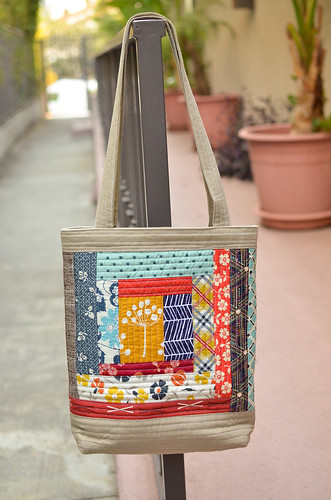 blues quilted tote side b