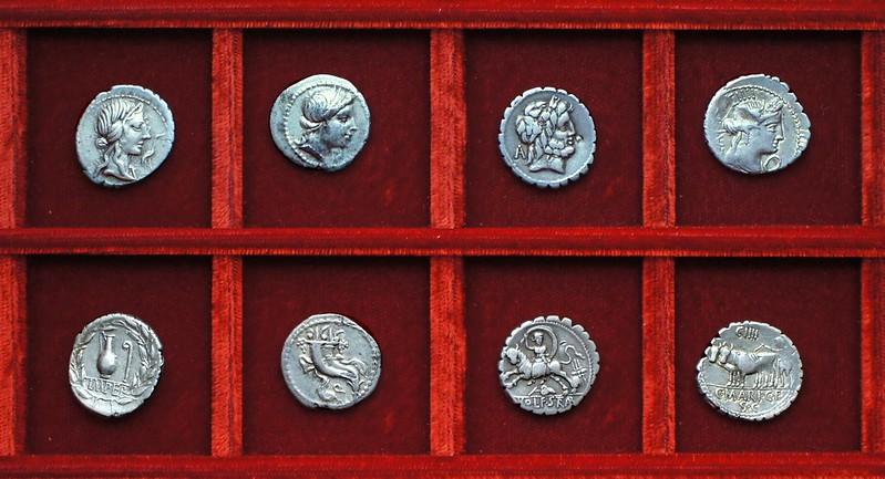 RRC 374 IMPER Caecilia, RRC 375 Q Sulla Cornelia, RRC 377 L.VLO. L.F. STRABO Volteia, RRC 378 C.MARI Maria, Ahala collection, coins of the Roman Republic