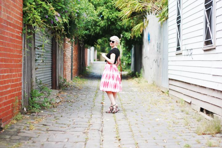 pink skirt jacaranda laneway a