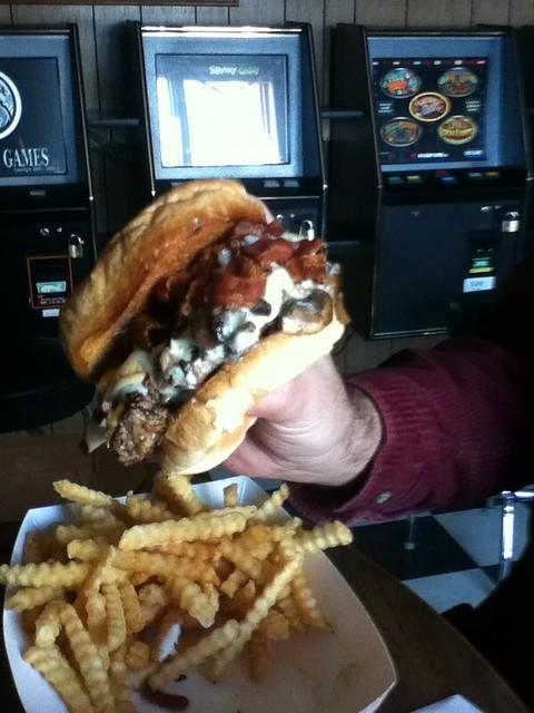 Bacon Swiss mushroom burger