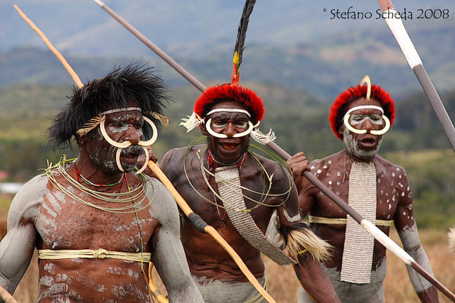 Warrior dances at Baliem Valley Festival - Wamena, Irian Jaya, Indonesia