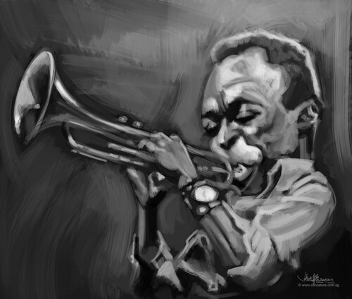 digital caricature of Miles Davis - 1