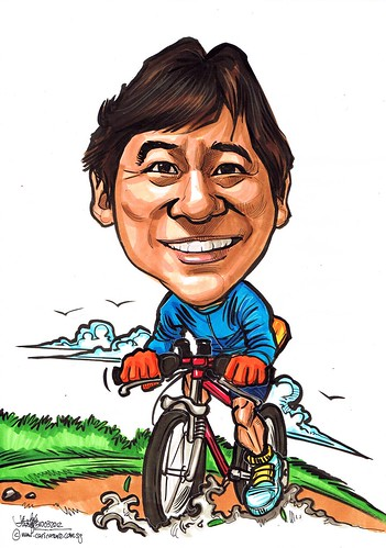 cyclist caricature for SAFRA