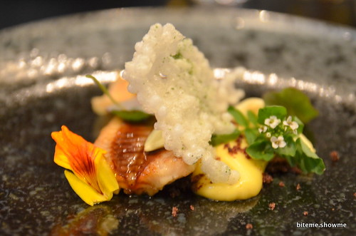Sepia - charcoal smoked eel, yuzu curd, green almonds, tapioca, licorise, watercress and nasturtium