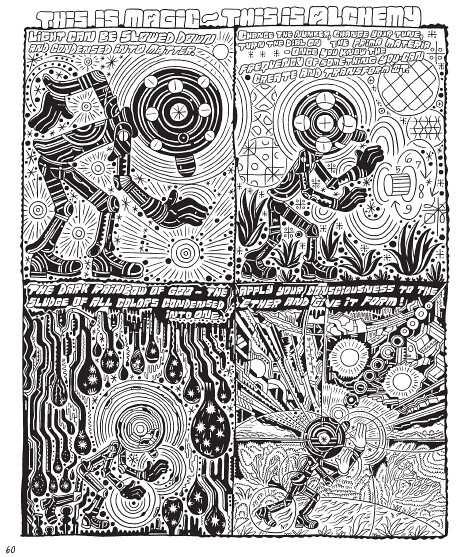Pages and panels from Ron Rege's Cartoon Utopia