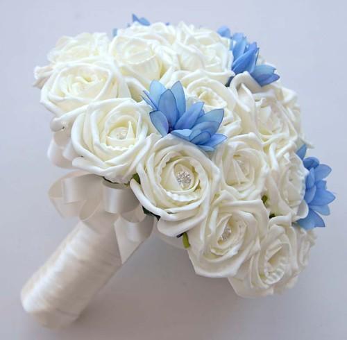 sarahs flowers Ivory Rose and Blue Agapanthus Bridal Wedding Bouquet