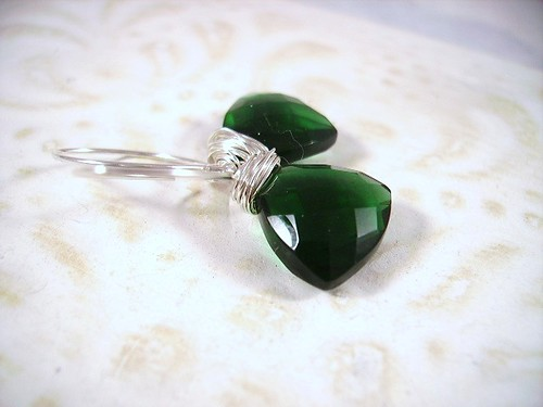 Emerald Green Quartz Faceted Trillion Briolettes Sterling Silver Earrings Pantone color 2013 Coupon code 20OFF by OBTP-Jewelry
