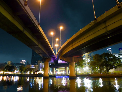 bridge light reflection building japan architecture night river lumix landscapes osaka nightview lx7