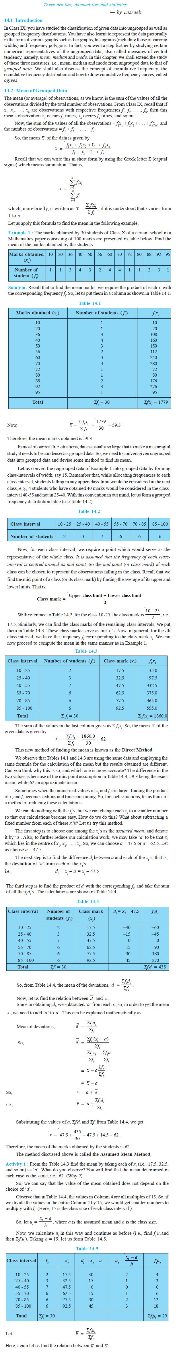 NCERT Class X Maths: Chapter 14 - Statistics