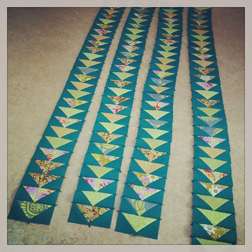 Yihaa, now I have 4 strips of 28 flying geese each!! Time for coffee