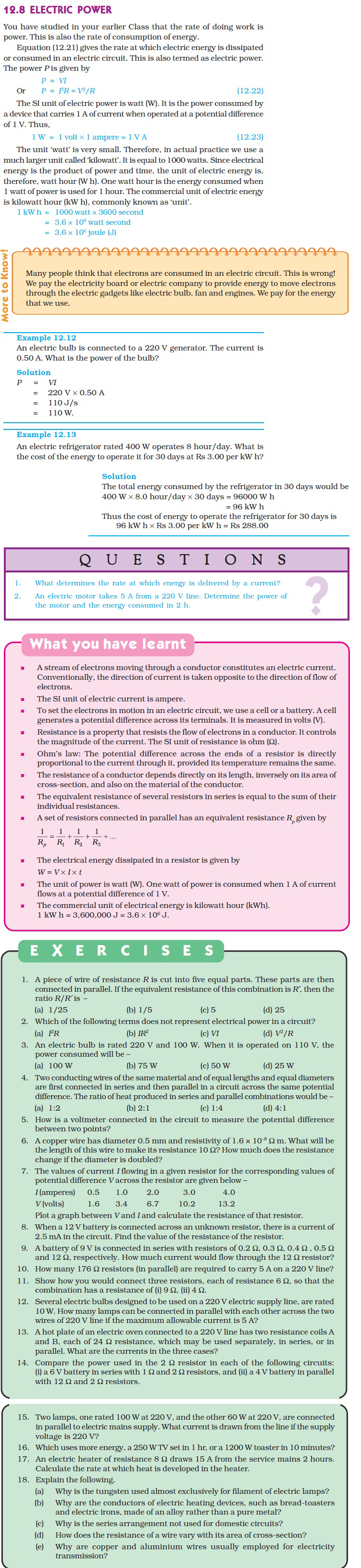 Ncert Class X Science Chapter 12 Electricity Aglasem Schools And Circuits Lessons Exercises Practice Tests