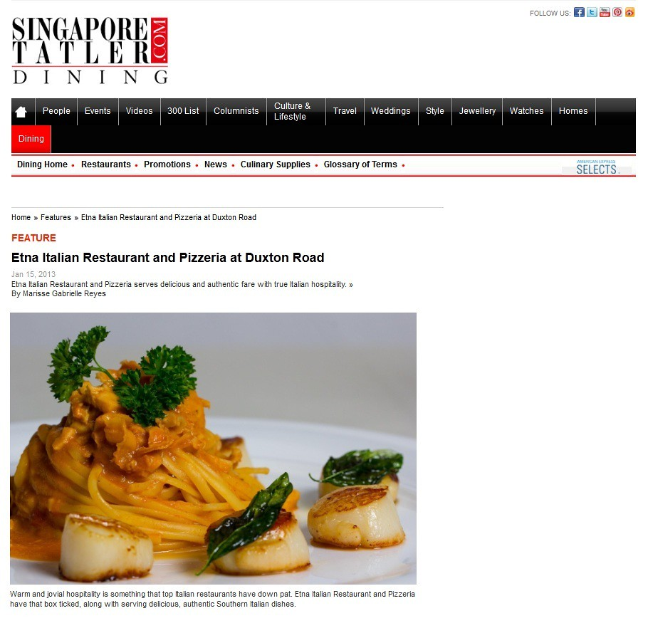 Press Article about italian restaurant singapore