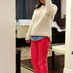 knit sweater pink white pants outfit